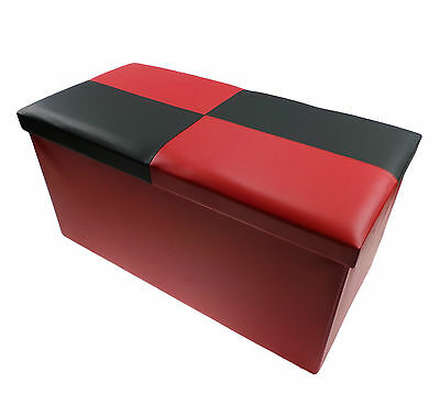 Large Double Ottoman Folding Storage Pouffe Toys Box Chair Stool Seat Black Red