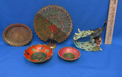 Brass Peacock Chinese Bird Statue Bowl Resin Peacock figurine Lot of 5