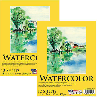 """11"""" x 14"""" Premium Heavy-Weight Watercolor Painting Paper Pad, 140lb 12-Sheets"""