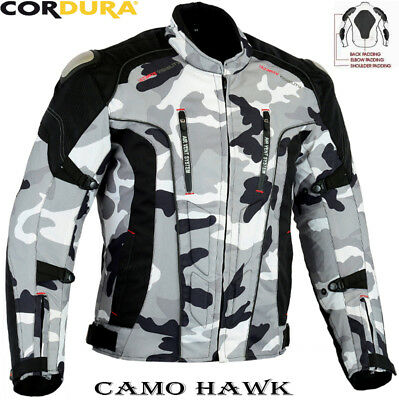 Grey Camo Style Mens Ce Armour Motorbike Motorcycle Motocross Textile Jacket