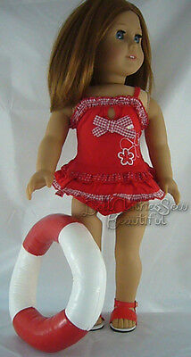 "Red Swimsuit Bathing Suit made for 18"" American Girl Doll Clothes"