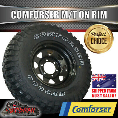 "17"" black steel wheel fitted with Comforser 285/70R17L/T MUD tyre. 285 70 17 33"""