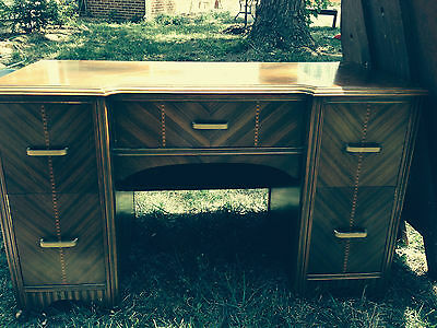 Antique bedroom set: vanity w/mirror, bench, headboard, baseboard