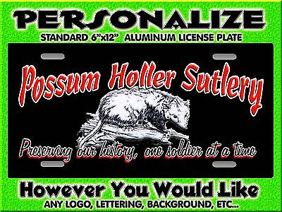 Any Logo Possum Sutlery  Background PERSONALIZED FREE Monogrammed License Plate