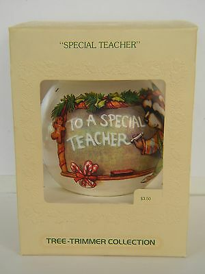 """SPECIAL TEACHER"" - Raccoon - HALLMARK UNBREAKABLE SATIN ORNAMENT - DATED 1979"
