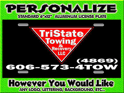 Any Logo Towing Wrecker Background PERSONALIZED FREE Monogrammed License Plate