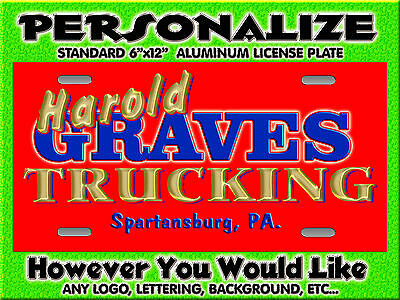 Any Logo Trucking Company Background PERSONALIZED FREE Monogrammed License Plate