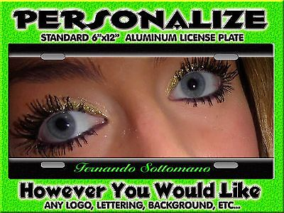 Any Photo Eyes Blue Background PERSONALIZED FREE Monogrammed License Plate