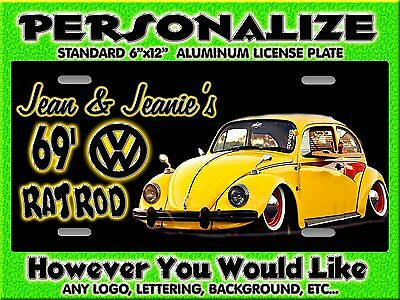 Any Photo Rat Fink Rod VW   Background PERSONALIZED  Monogrammed License Plate