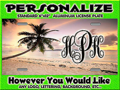 BEACH Palm Tree sunset  Background PERSONALIZED FREE  Monogrammed License Plate