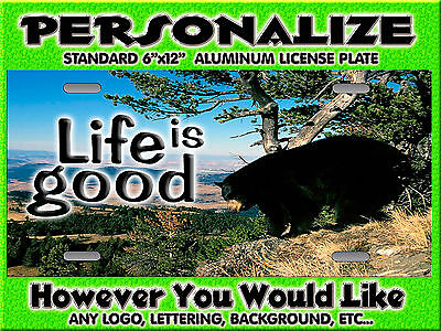 BLACK BEAR 2  smokey mountains Background PERSONALIZED Monogrammed License Plate
