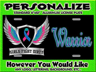 Cancer Awareness Ribbon 2  background PERSONALIZED Monogrammed License Plate