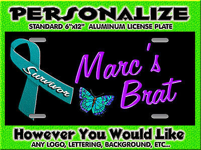 Cancer Awareness Ribbon background PERSONALIZED FREE  Monogrammed License Plate