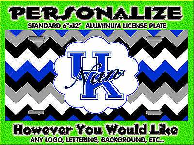 Chevron Blue UK Wildcats KY background PERSONALIZED Monogrammed License Plate
