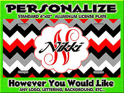 Chevron Print  Red Black  background PERSONALIZED FREE Monogrammed License Plate