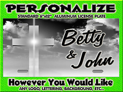 Cross Chistian grey offset background PERSONALIZED Monogrammed  License Plate