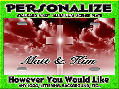 Cross Chistian red maroon dark background PERSONALIZED Monogrammed License Plate