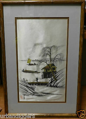 8668/ Vintage CHINESE Painting on SILK ~ Signed ~ Framed Art from Estate