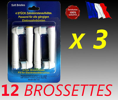 12 TETES BROSSETTES rechange  remplacement  brosses  dents Braun Oral B Vitality