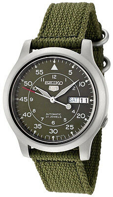 Seiko 5 SNK805K2 Men's Green Fabric Band Military Dial Automatic Watch
