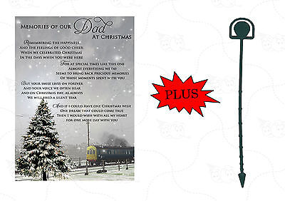 Memorial Christmas Card 'Memories Of Our Dad' Grave Cemetery Card With Holder