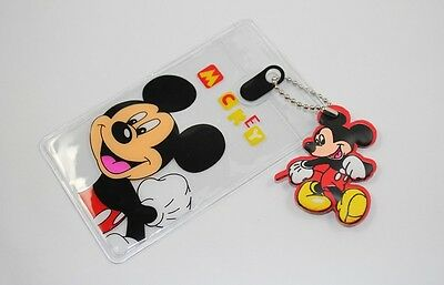 2Pcs Mickey Mouse Transparent ID Credit Card Holder,Business Card Holders Pouch