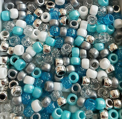 100 Frozen Winter Mix Silver White Blue Glitter Pony Beads Loom Bands Dummy Clip