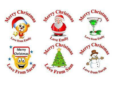 #001 105 Personalised Christmas Candy Sticks Gift Label Stickers 37mm Round