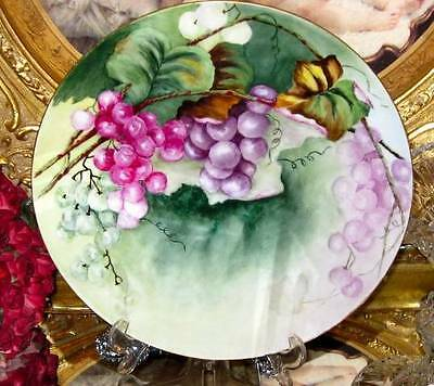 LIMOGES FRANCE HAND PAINTED GRAPES CHARGER 11.1/2""