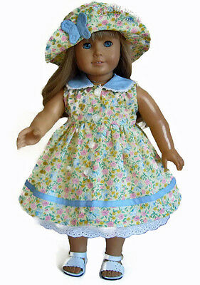 """Yellow Floral & Butterfly Dress + Hat made for 18"""" American Girl Doll Clothes"""