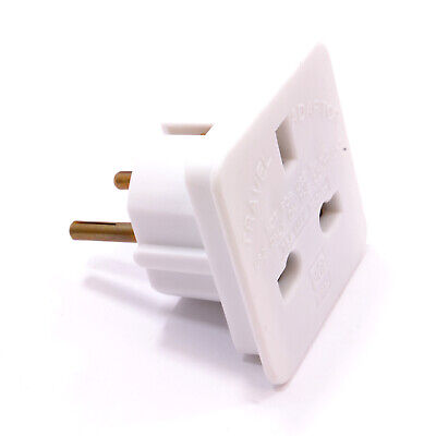 Travel Adapter UK Main Plug To Euro Schuko Plug Changer Europe [002292]