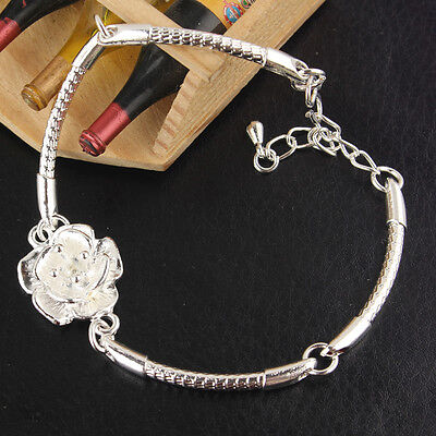 """Womens Silver Plated Flower 7.9"""" Bracelet Bangle Jewelry Free Shipping BB2019"""