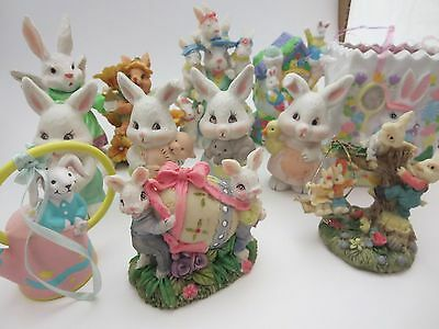 """Lot of 12 Easter Bunny Figurines 3-4"""" tall"""
