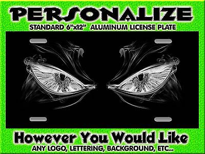 EYES Grey auto car tag Background PERSONALIZED Monogrammed License Plate