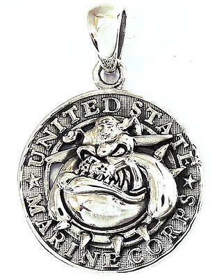 Usmc Bulldog Dog Us Marine Mascot Sterling 925 Silver Military Mens Pendant