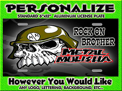 Metal Mulisha Any Band background PERSONALIZED FREE Monogrammed License Plate