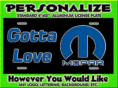 Mopar Dodge Any Logo background PERSONALIZED Monogrammed License Plate