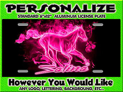 Mustang Horse Flames Hot Pink background PERSONALIZED Monogrammed License Plate