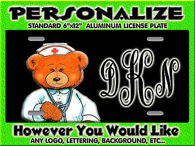 Nurse RN LPN CNA Bear any logo background PERSONALIZED Monogrammed License Plate