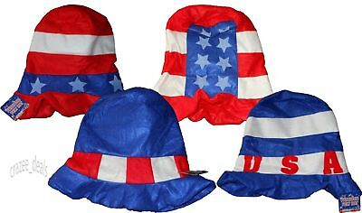 Lot Of 4 USA Patriotic Uncle Sam Red White Blue Felt Party Hats One Size NEW