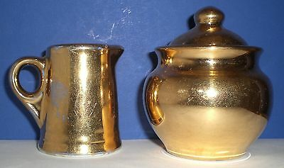 Shenango 22 Karat Gold Plated Creamer Pitcher and Sugar with lid Warranted