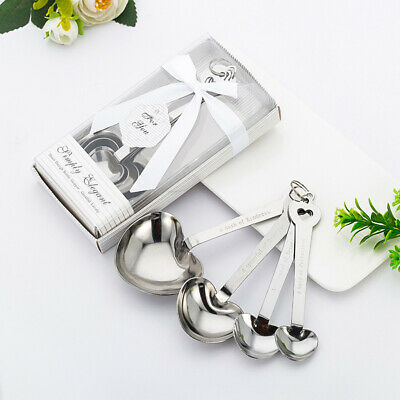 Stainless Steel Heart Shaped Measuring Measure Spoons Scoop Cup Baking Cooking