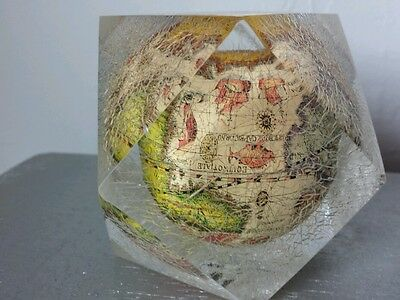 VINTAGE GLOBE LUCITE ACRYLIC PAPERWEIGHT
