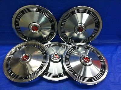 """Set Of 4 VINTAGE 1974 FORD MUSTANG 13"""" HUBCAPS, GOOD DRIVER QUALITY"""