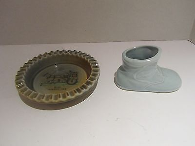 Ceramic Candy/Ashtray made in Ireland and Porcelain Boot