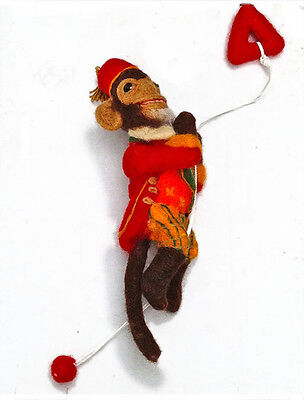 WHAT A MOnKeY,  1 of a KIND Felted Wool, retro style, by Alma Lee,Original,
