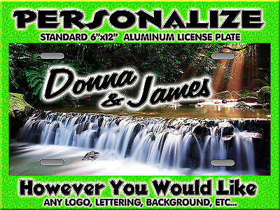 Waterfall Mountain Stream  Background PERSONALIZED Monogrammed License Plate