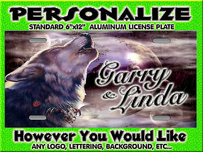 Wolf Wolves Howling at Moon Background PERSONALIZED Monogrammed License Plate