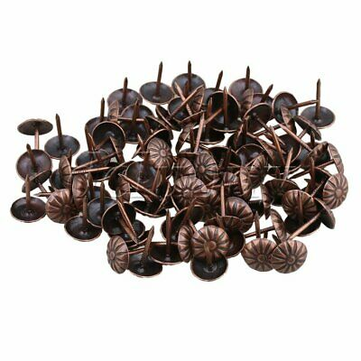 100pcs 11x16mm Vintage Bronze Decorative Nails Upholstery Tacks Studs Pins Iron