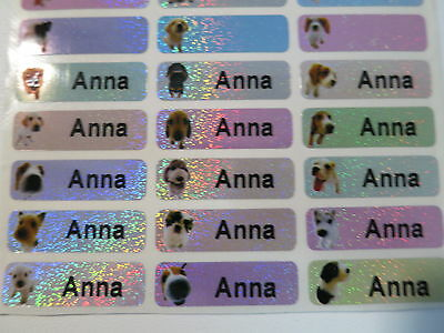 60  Dog Sparkle Personalized Waterproof Name Stickers Labels Decals 3 cm x 1cm